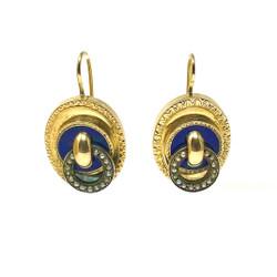 Antique American 14 Karat Enamel and Seed Pearl Earrings