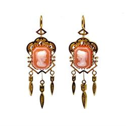 Fine Antique American 14 Karat Cameo Earrings
