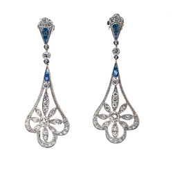 Hand-Made Diamond and Sapphire Platinum Earrings