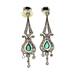 Handmade Emerald and Diamond Platinum Earrings