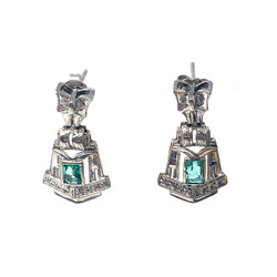 Hand-Made Emerald and Diamond Earrings