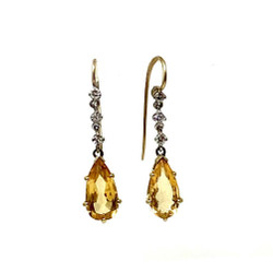 Antique Diamond and Topaz Earrings circa 1900