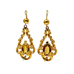 Antique 15 Karat Gold Citrine Earrings