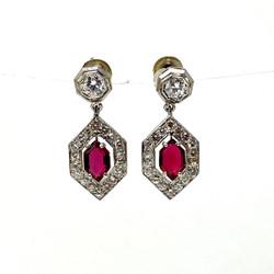 Diamond and Garnet 14 Karat White Gold Earrings