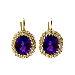 Amethyst Diamond 14 Karat Gold Earrings