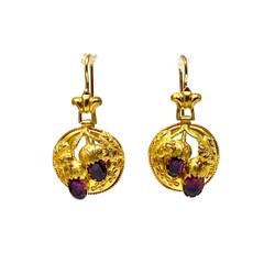 Antique English 15 Karat Gold and Garnet Earrings