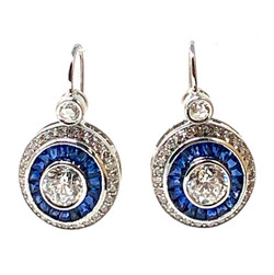 1.48 Carat Diamond 6-Color, VS1 and Sapphire 14K Earrings