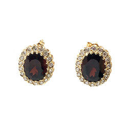 14 Karat Gold 8 Carat Garnet and 1 Carat Diamond Earrings