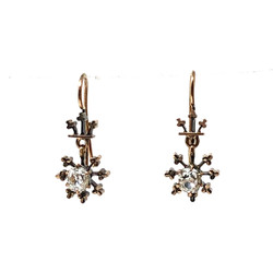 Antique American Old Mine Diamond 1A Total 14 Karat Earrings circa 1870-1880s