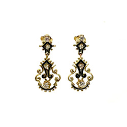 Hand Made Diamond and Enamel Earrings
