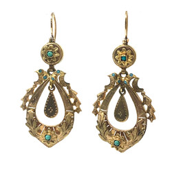 Antique English 15 Karat Persian Turquoise Earrings circa 1920