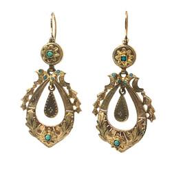 Antique English 15 Karat Persian Turquoise Earrings circa 1920