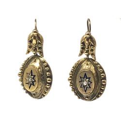 Antique English 15 Karat Gold Etruscan Pearl Earrings