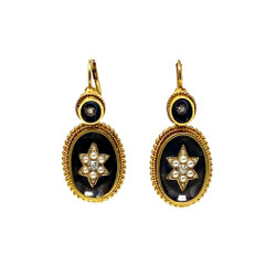 Antique English 15 Karat Diamond and Pearl and Agate Victorian Earrings