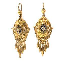 Antique English 15 Karat Seed Pearl and Enamel Earrings