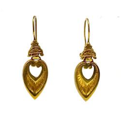 American 14 Karat Gold Etruscan Style Earrings