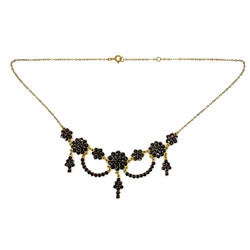Victorian Style Bohemian Garnet and Sterling Vermeil Necklace.