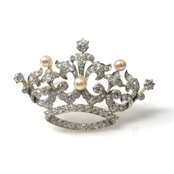 Antique Platinum Diamond and Pearl Crown Pin