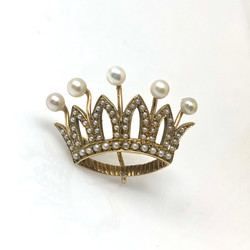 Antique American 14K Seed Pearl Crown Pin