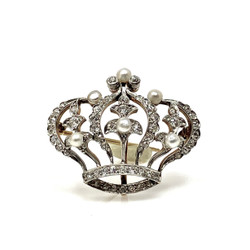 Antique American 14 Karat Diamond and Pearl Crown Pin