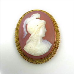 Antique American 14 Karat Cameo Pin circa 1890