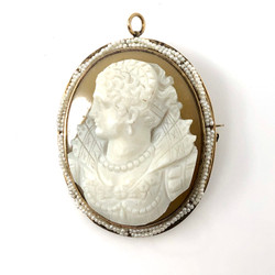 Antique American 14K Seed Pearl Cameo Pin