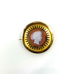 Antique English 15 Karat Cameo Pin circa 1880