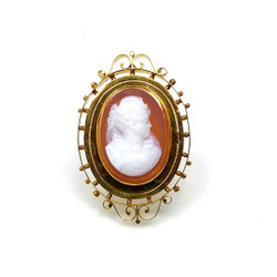 Antique American 14 Karat Cameo Pin