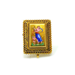Antique Enamel 15 Karat Gold Pin circa 1850