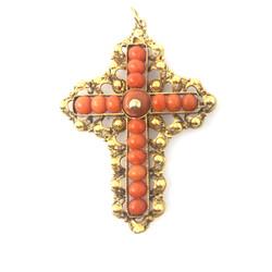 Antique English Coral Cross 18Kt Pendant