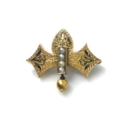 Antique Enamel 14K Gold Pin
