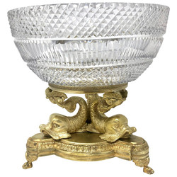 Fine Antique Austrian Cut Crystal and Gold Bronze Centerpiece, 1900-1910