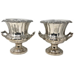 Pair Antique English Sheffield Silver-Plated Double Walled Champagne Buckets, Circa 1880-1890
