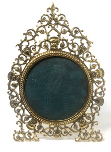 Fine Antique American Brass Picture Frame Peg Gueri New York