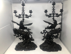 Pair of Antique Japanese Bronze Phoenix Bird Candlesticks, 19th Century