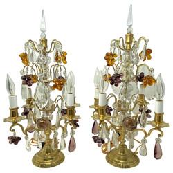 Pair Antique French Gold Bronze and Color Crystal Girandoles, Circa 1880-1890's