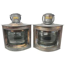 Pair Antique Copper Clad Tin Ship's Lanterns, Circa 1940.
