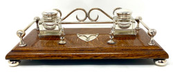Antique English Silver Plated Oak Inkwell circa 1890