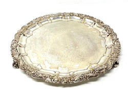 Antique English Sheffield Silver Plated Footed Salver Marked Barker Ellis circa 1910-20