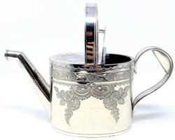Small Antique English Edwardian Sheffield Silver-Plated and Hand Engraved Watering Can, Circa 1910.