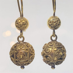 Antique English Finely-Traced 9 Karat Gold Ball Earrings, Circa 1890's.