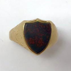 Antique 10 Karat Gold Bloodstone Ring, Circa 1890.