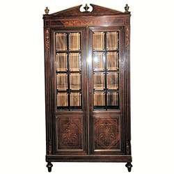 Antique French Charles X Style Rosewood and Satinwood Vitrine Bookcase, Circa 1860's.