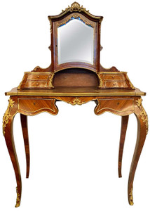 Antique French Rosewood and Gold Bronze Writing Desk or Vanity, Circa 1880-1890.