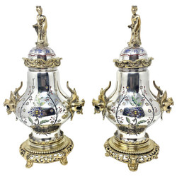 Pair Antique 19th Century Silvered and Enameled Bronze Chinoiserie Urns, Circa 1880.
