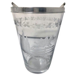 """Antique American Etched Glass Ice Bucket Signed """"Hawkes"""", Circa 1890-1910."""