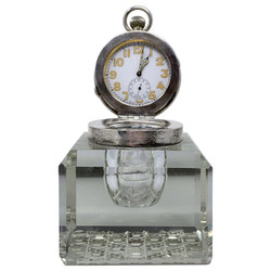 Wonderful Antique English Sterling Silver and Cut Crystal Watch-Clock Inkwell, Circa 1910
