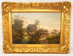 Antique Late 19th Century Victorian Style Oil On Panel Landscape Painting. Small Illegible Signature at Bottom