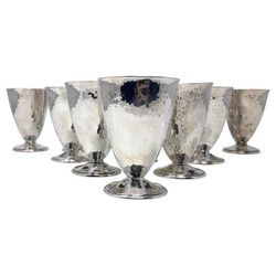 """Set of 12 Antique Sterling Silver Cordial Glasses, Hammered Arts and Crafts Design, Made by """"Barbour Silver Company."""" of Hartford, CT."""