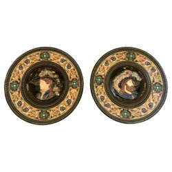 Pair of Large Antique Hand-Painted Majolica Porcelain Plaques, Circa 1910-1920